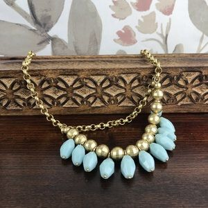 NEW 🏷 Jade Green Multilevel Thick Gold Necklace